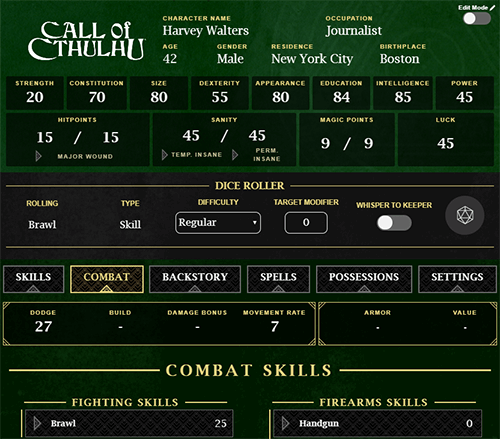 Call of Cthulhu Character Sheet on Roll20